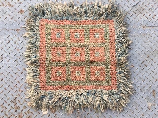 #2004 Tibet Wangden rug, red yellow and blue quare checker pattern.