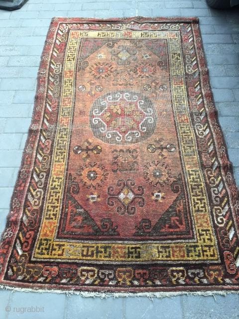 #1905 Chinese Gansu carpet, wood red background with group flower pattern, surrounded with abstract flowers , Hui veins and could fowers selvage, wool warp and hemp weft, all of white color is  ...