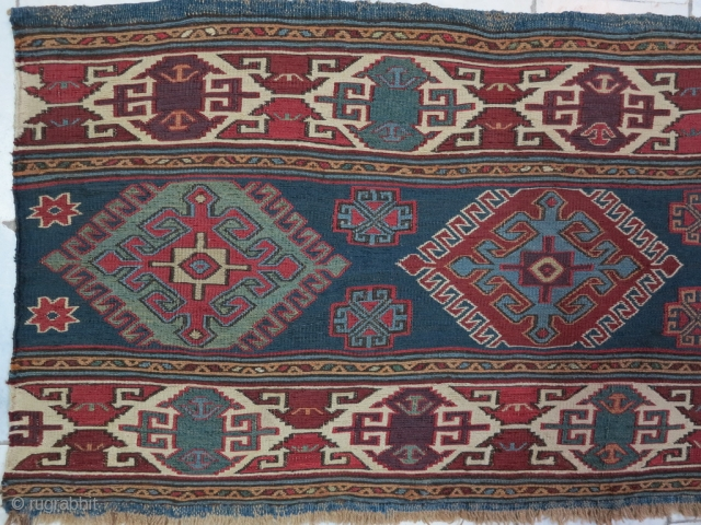 Hamamlou Shahsavan Mafrash panel soumac wool on wool natural color age:120 years it was repair, size:46 x 111 price:POR