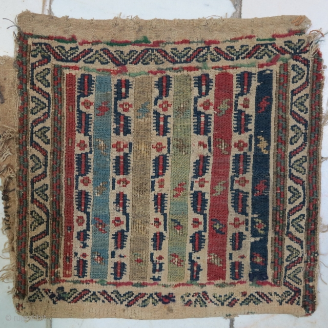 Very old fragment Shahsavan Toubreh ( bag ) shirakipich technique with great design natural color size: 24 x 25 cm price:POR