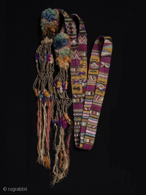 "Ceremonial cinta (hair ribbon). Totonicapán, Guatemala. Cotton and silk, woven by hand on a backstrap loom. 111"" by 1.25"""
