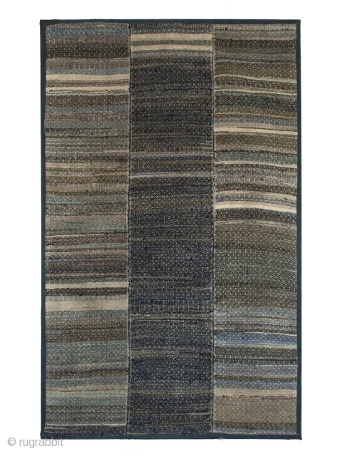 """Blanket, Miao ethnic group, Guizhou Province, Southwest China. 71"""" (22.8 cm) high by 45"""" (7.6 cm) wide. Early 20th century. This strip woven blanket is made from recycled fabrics, most of them indigo  ..."""
