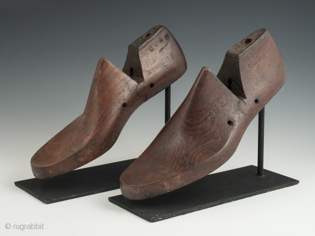 """Shoe lasts, USSR. Wood, metal. Early 20th century. 10.75"""" (27.3 cm) and 11.25"""" 28.6 cm) long. Not quite a matching pair of old shoe lasts, purchased in Japan but made in the  ..."""