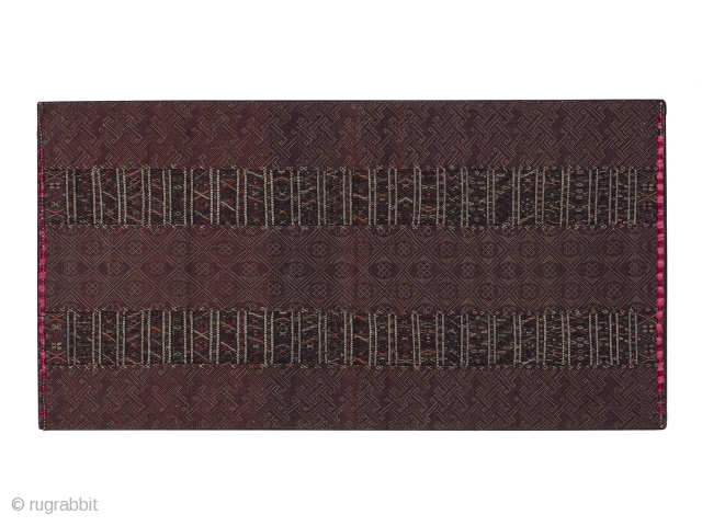 "Breast cover, Kahmi ethnic group, Arakan area, Burma. Cotton, silk, 15"" (38 cm) high by 28"" (71 cm) wide. Early to mid-20th century. This is a beautiful patterned breast cloth made with  ..."