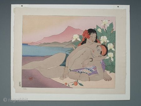 """Woodblock """"Calme. 'truck' """" by Paul Jacoulet 1941  Woodblock """"Calme.'truck' """" by Paul Jacoulet 1941, showing two Polynesian lovers in a scenic outdoors setting. Signed in pencil """"Paul Jacoulet"""" with a red butterfly  ..."""
