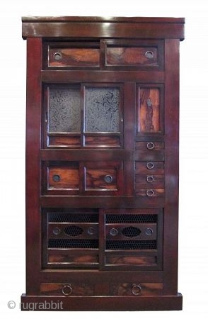 Antique Japanese Gifu Mizuya (Kitchen Chest) Persimmon Wood Accents