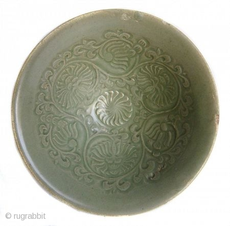 Antique Chinese Small Celadon Bowl   A small Chinese eggshell thin ceramic bowl with celadon green underglaze. The center of the bowl is incised with floral motifs and scrolls, and the outer edges are  ...