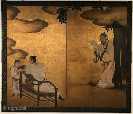 18th Century Japanese Byobu: The Longevity Turtle  Early 18th C Edo period Japanese byobu painted screen of scholars in retreat. It is composed of 2 panels. The screen has a predominate gold leaf  ...