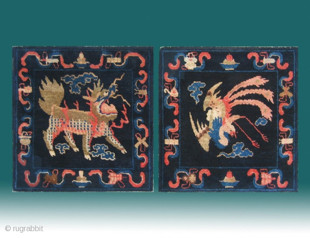 "No.P38 * Chinese Antique Mat-Rug ""Phoenix and Unicorn(kylin)"" . Age: 19th Century.