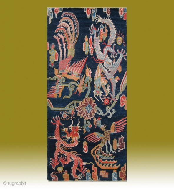 "No.CL008 * Tibetan Antique ""Dragon & Phoenix"" Rug. Size:86x187cm(34""x74""). Age:19th Century. Origin:Tibet. Shape:Rectangle. Background Color:Blues ."