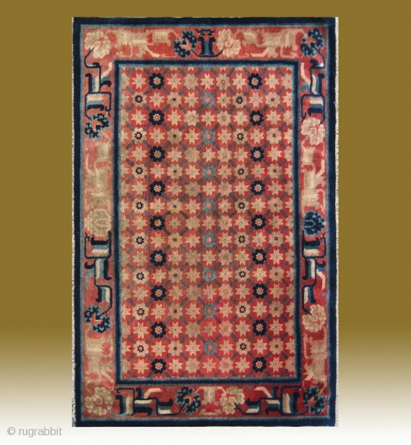 "No.CL039 * Chinese Antique ""Flower Lattice Brocade Pattern"" Rug,  Size:120x186cm(47""x73""). Age:19th Century..Origin: Baotou-Suiyuan.Shape: Rectangle. Background Color: Reds.