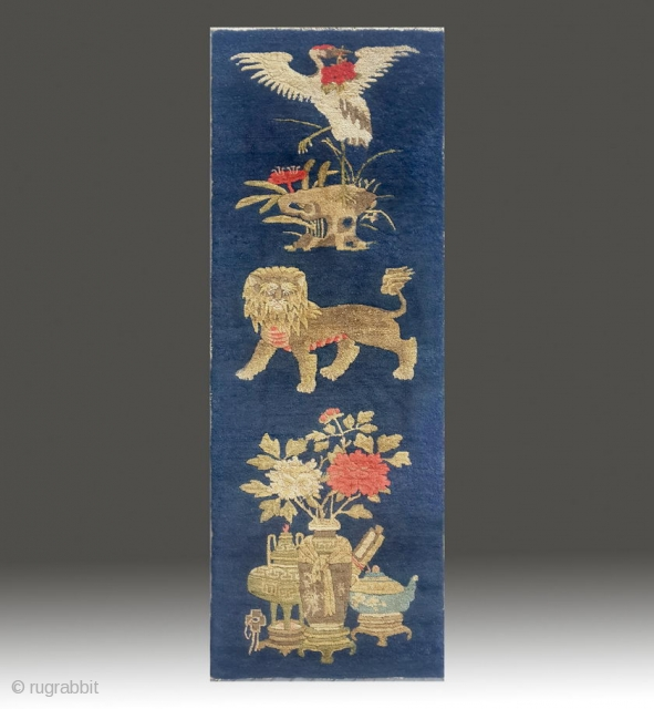 """No.R152 * Chinese Antique """"Lion + Crane"""" Pillar. Size: 51x139cm (1'8""""x4'7""""). Age:19th Century.  Origin: Sanxi-Yulin. Shape: Rectangle.Background Color: Blues.This carpet from Sanxi was woven to hang from a pillar in a  ..."""