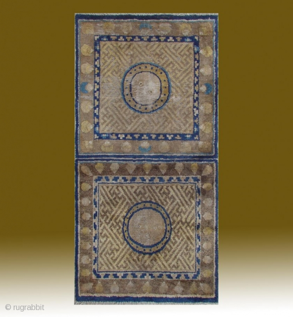 "No.A0055 * Chinese Antique Ningxia Mat-Runner ""Swastikas+Yinyang Design"". Size:63x125cm(25""x49""). Age:Late 18th Century. Origin:Ningxia. Shape:Square.Background. Color:Yellows."