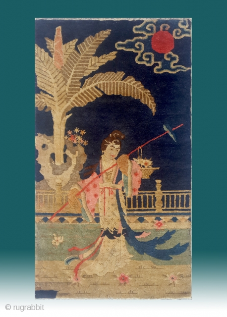 "No.Lu07 * Chinese Antique ""Chinese Pretty Girl"" Rug.Late 19th Century.Size: 64x111cm(25""x44"").Origin: Baotou. The girl on the rug is the leading lady in one of the most four famous chinese classical novel ,  ..."