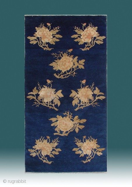 """No.R028 * Chinese Antique """"Peony Flower"""" Rug ,Origin: Baotou.Age: 19th Century. Size: 67x135cm(26""""x53""""). This very elegant carpet from Baotao in inner Mongolia features an auspicious eight peony flowers on a field of  ..."""