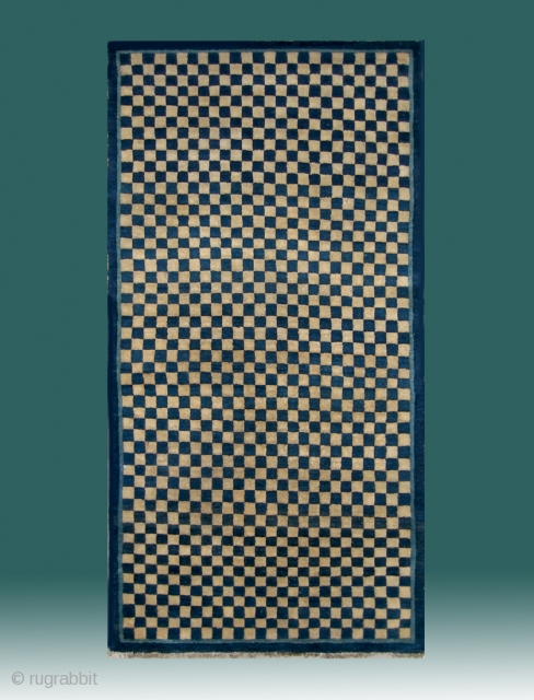 "No.D018 * Chinese Antique Rug ""Checkerboard Design"", Origin: Baotou-Suiyuan.Late 19th Century.Size:90x172cm(35""x68"") . Shape: Rectangle .Background Color: White & Blues."