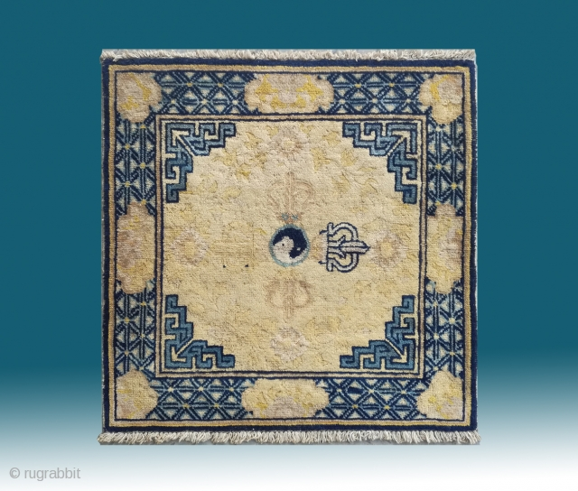 "No.DX001 * Chinese Antique Ningxia Square Mat-Rugs.Age: 18th Century. Origin: Ningxia.Size: 77 x 78cm( 30"" x 31"" ). Shape: Square. Background Color: Yellows."