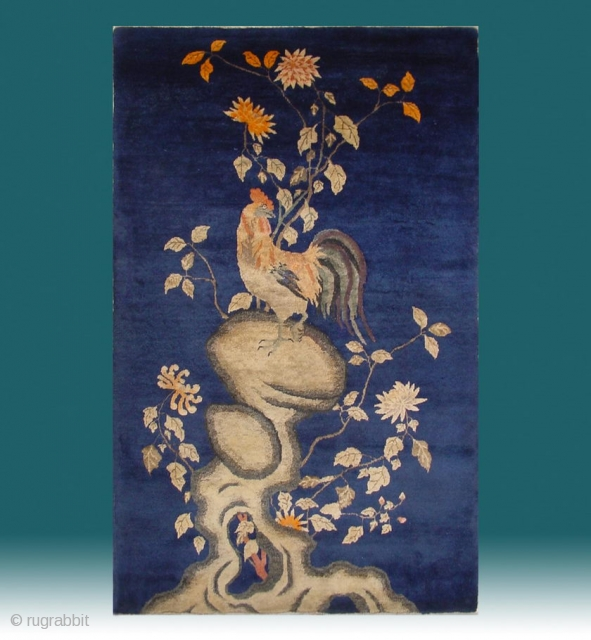 "No.CL049 * Chinese Antique (Chicken-Ji""Good luck"")Rug.Age:19th Century. Size:97x153cm(3'2""x5')..Origin: Baotou-Suiyuan Shape: Rectangle. Background Color: Blues."