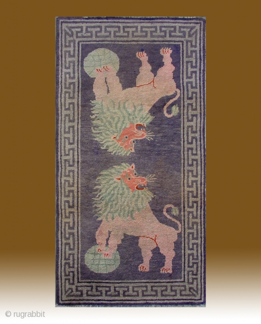 "No.R006 * Chinese Antique ""Lion"" Rug ,Size: 80x155cm(31""x61"").Origin: Gansu-Qinghai.Shape: Rectangle. Background Color: Light Blues."