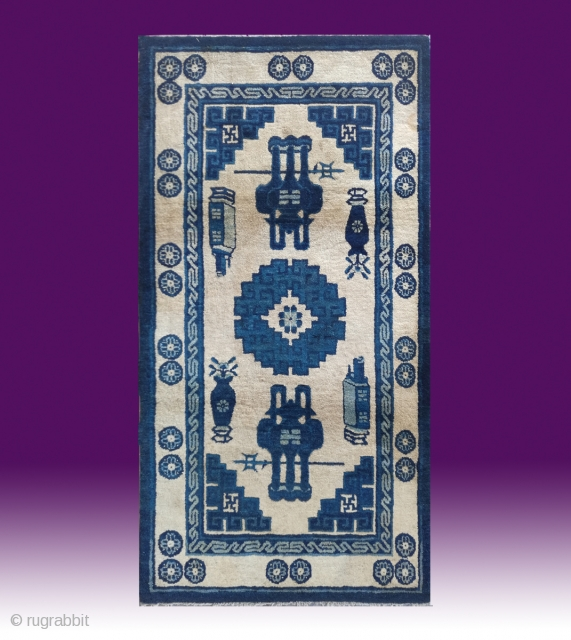 "No.D002 * Chinese Antique Rug ,Origin: Baotou. Age: Late 19th Century.Size: 90x174cm(2'11""x5'9"").Shape: Rectangle.Background Color: Whites"