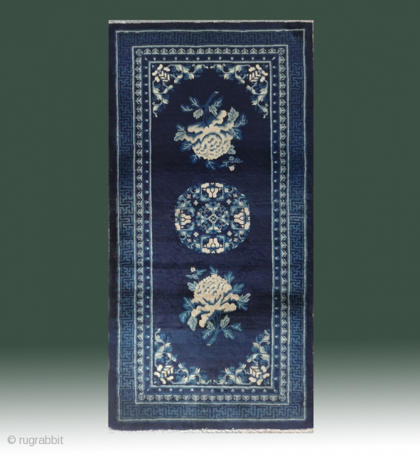 """No.R12 * Chinese Antique """"Peony Flower"""" Rug ,Origin: Baotou.Age: 19th Century. Size: 94x182cm(37""""x72""""). This is a classic Baotou sleeping carpet from Inner Mongolian. A single central medallion of stylized flower design with  ..."""