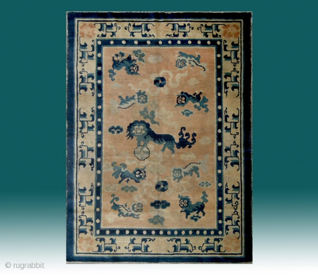 "No.CL001 * Chinese Antique ""Nine Fo-dogs"" Ningxia Rug.Size: 135 x 180cm (4'5""x5'11"").Age: 18th Century. Origin: Ningxia.Background Color: The Wood Reds .Shape: Rectangle. In the centre field a sitting fo-dog is surrounded by  ..."