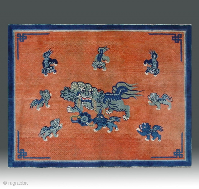 "No.CL036 * Chinese Antique ""Nine lions"" Rug.Size: 147x182cm(4'10""x6').Age: Mid-19th CenturyOrigin: Baotou-Suiyuan.Shape: Rectangle.Background Color: Reds.