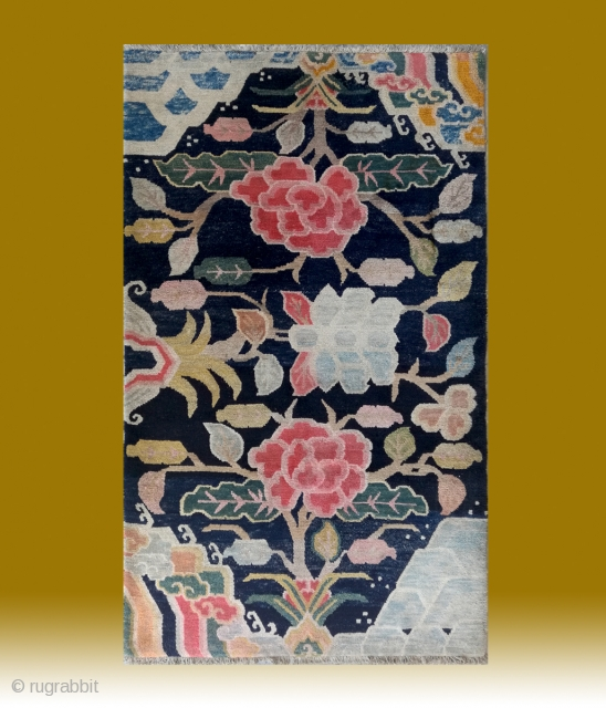 "No.R165 * Tibetan Antique ""Flower Design"" Rug. Age:Late 19th/20th Century. Size:91x152cm(3'x5').wool/wool.Origin:Tibetan.Shape:Rectangle.Background Color:Blues."