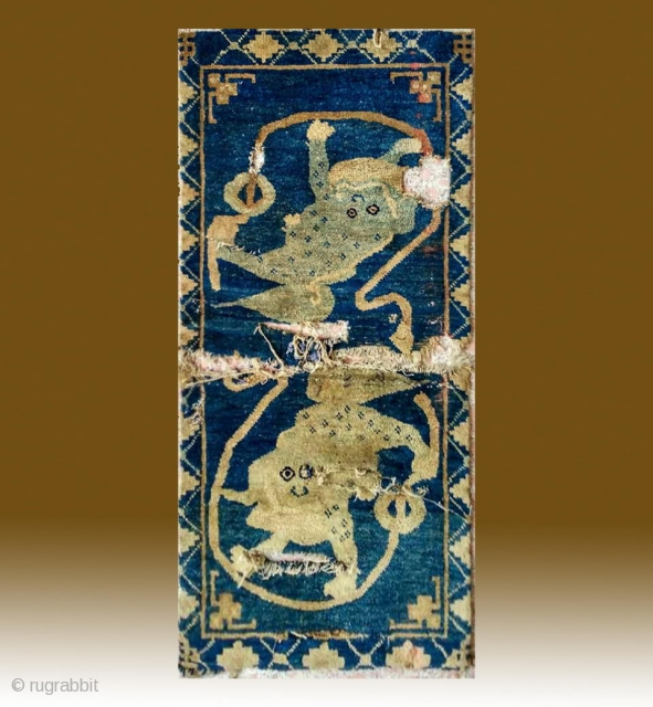 """No.A0052 * Chinese Antique """"Two lions"""" Rug (Fragments).Size: 52x110cm(20""""x43"""").Age: Late-18th Century. Origin: Baotou-Suiyuan.Shape: Rectangle.Background Color: Blues."""