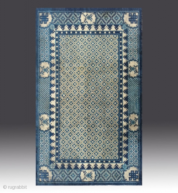 """No.R114 * Chinese Antique Carpet ,Origin: Baotou-Suiyuan. Age: Early-19th Century. Size:118x192cm(3'10""""x6'4"""").Shape: Rectangle. Background Color: Off-whites,lvory."""