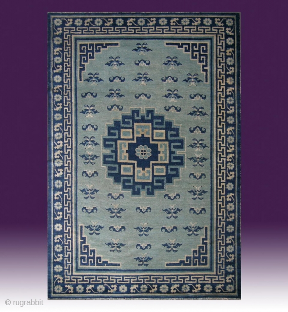 No.CL027 * Chinese Antique Ningxia Carpet ,Origin: Niningxia. Age: Late 18th/Early 19th Century. Size: 184x275cm(6'x9').Shape: Rectangle .Background Color: Gray and Green.