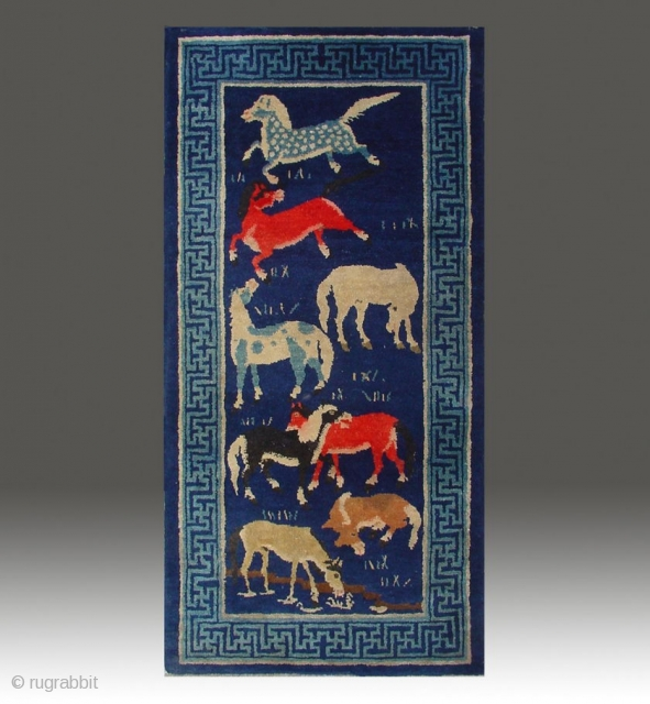 """No.P46 * Chinese Antique """"Eight Horses"""" Rug , Age:Late 19th Century. Size:66x130cm(26""""x51""""). Origin:Baotou-Suiyuan. Shape:Rectangle. Background Color:Blues. Chinese Rug with Eight Horses, This is an unusual rug from Mongolia. The theme of this  ..."""