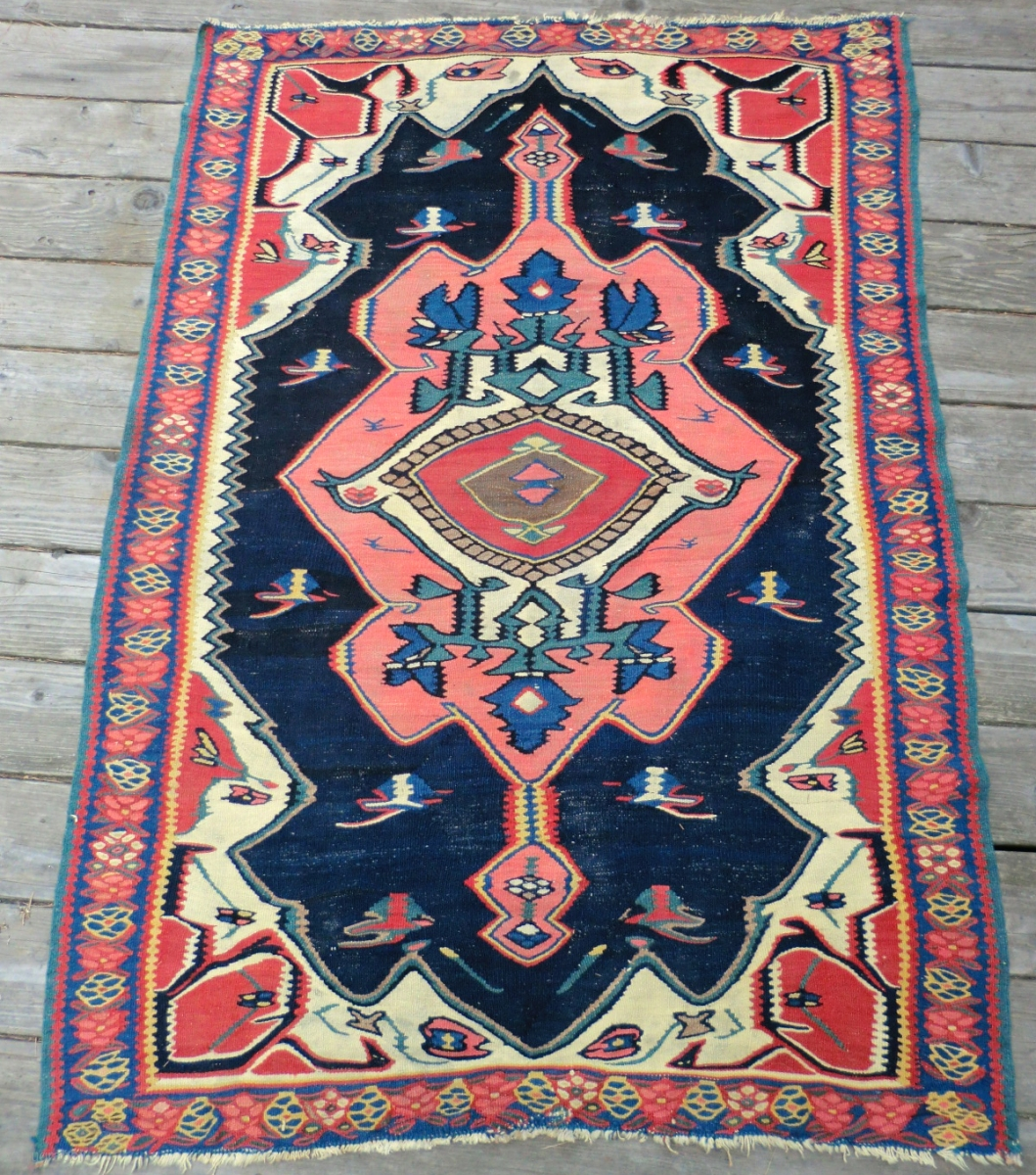 Antique Bijar Kilim Rug 3.5 Ft. X 5.25 Ft. A Dynamic