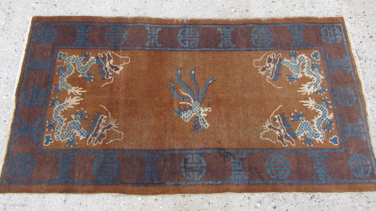 Art Deco 20c Chinese Peking Wool Woven Dragon Rug Chinese