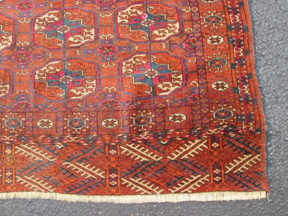 Antique Tekke Turkoman Rug Size 3 11 X3 2 Condition