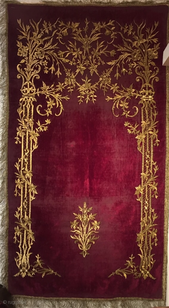 Ottoman Velvet Embroider Palace Prayer Rug 19th Century