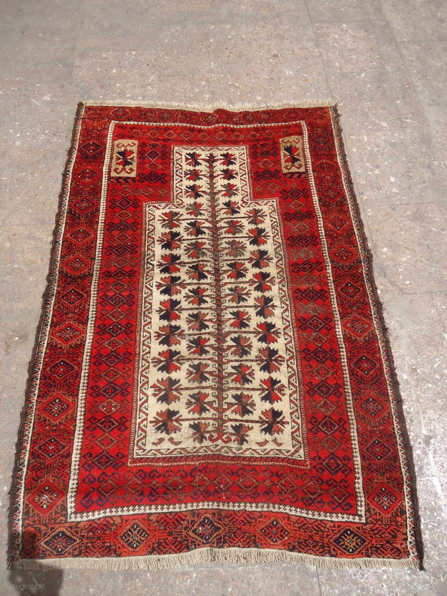 Ivory Ground Baluch Prayer Rug With Great Colors And Nice