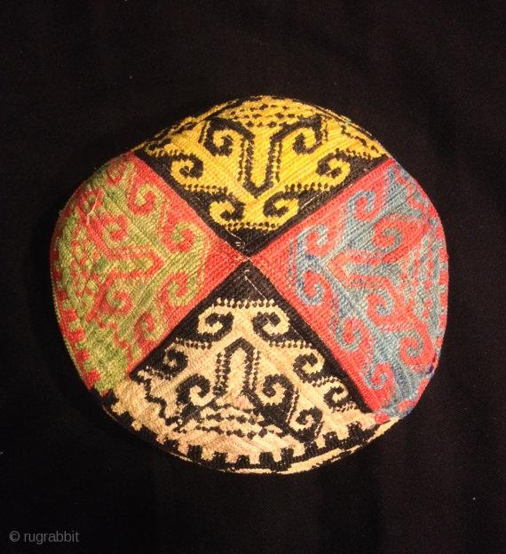 Uzbek Vintage Natural Silk Handmade Hat Skull Duppi Hat