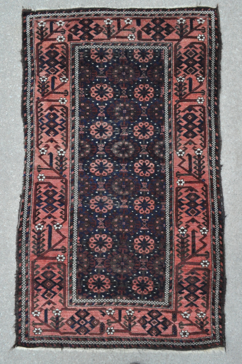Antique Baluch Rug With Khaf Guls And A Very Well Drawn