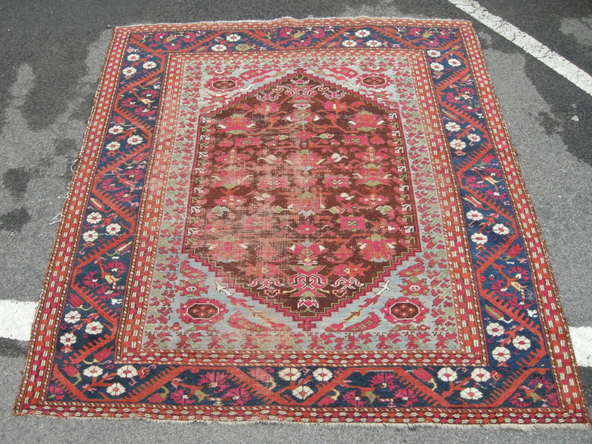 Antique Kula Rug Approx 5ft3 X 4ft9 19th Century Some Wear