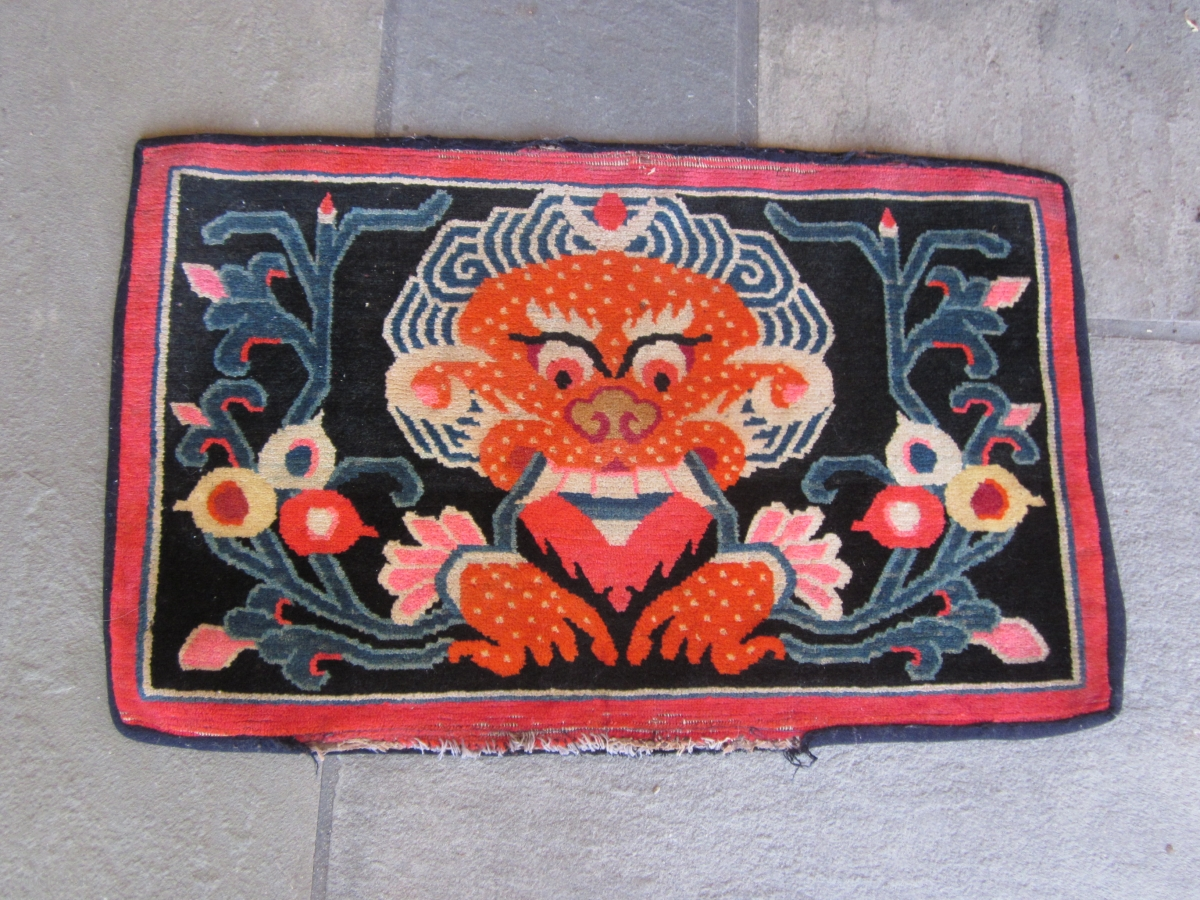 Pair Of Tibetan Mats C 1930 Very Graphic Depiction Of A