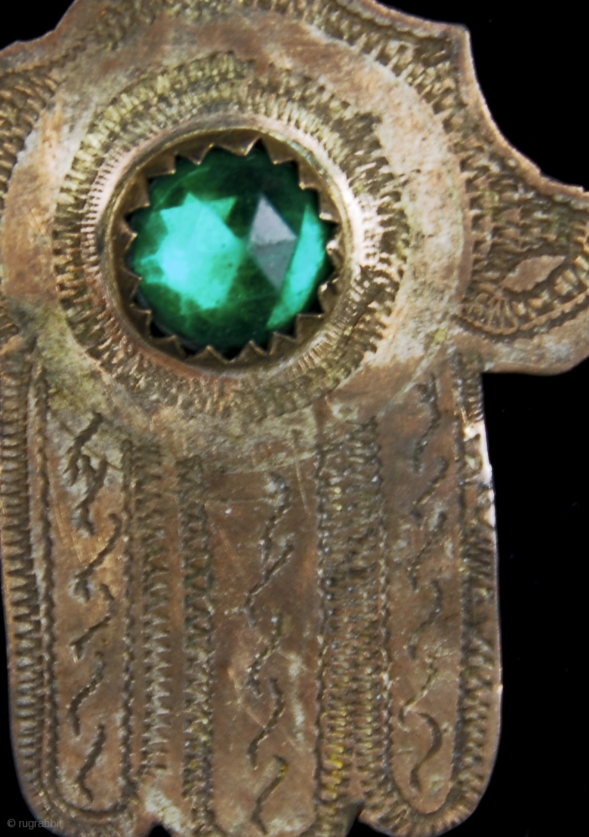 Old Berber Pure Silver And Green Czeickh Glass Bead Hamsa
