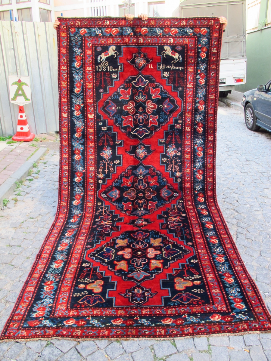Antique Karabagh Rug Has Original Armenian Date Excellent