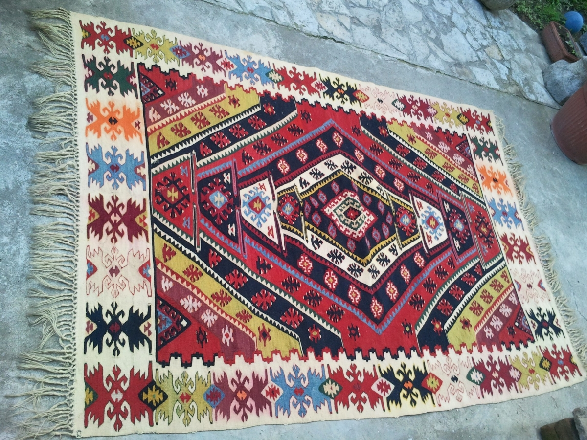 Sarkoy Pirot Kilim Over 100 Years Old With Natural
