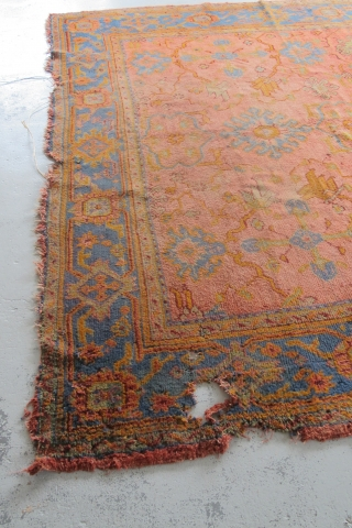 "Very pretty Oushak carpet...the pile is not bad, but there are issues... 3.30m x 2.73m (10'11"" x 9'). Been in my dusty corner too long...$1000 plus shipping."