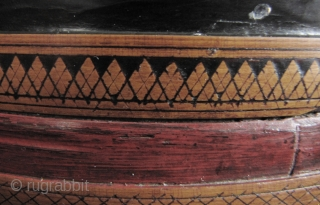 """Nice old Cambodian Betel """"siri"""" box. This piece predates the Khmer Rouge regime and circa 60 or 70 years old. In good condition, this has an unusual 4 carved bamboo bands- most  ..."""