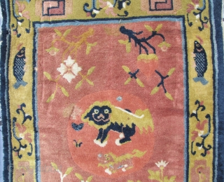 "Ningxia Carpet: Good circa late 19th/early 20th ce, Ningxia Tibetan Buddhist temple runner with two playful female ""foo dogs"" and pup, medallions, representing the nurturing aspect of the Yin principle, against an  ..."