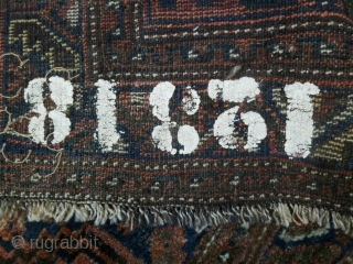 Nice old Qasghai (Iranian tribal) wool rug all vegetable dyes- some worn areas but in overall good condition. Very supple with shiny wool. Circa late 19th to early 20th century. l: 142cm/155in  ...