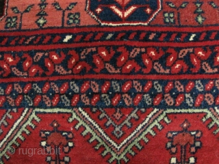 Afghan Rug. Very tightly woven, all wool. I bought this in Peshawar in 1996, no damage but is quite stiff and a bit wider on one end. No damage. Dimensions are 156cm/78in  ...