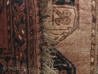 Nice old supple Ersari Bokara carpet circa 1920- some worn areas and about 5cm missing from the head ends. All wool with natural earthy colors. L:1.85m/72in and W: 1.23m/48in.